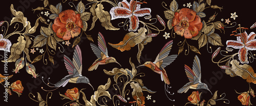 Embroidery humming birds, orchid and red roses seamless pattern. Beautiful bouquet and tropical humming bird pattern. Decorative floral roses embroidery