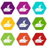 Moon and cloud icons set 9 vector