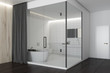 White and wooden luxury bathroom, side view - 199660373