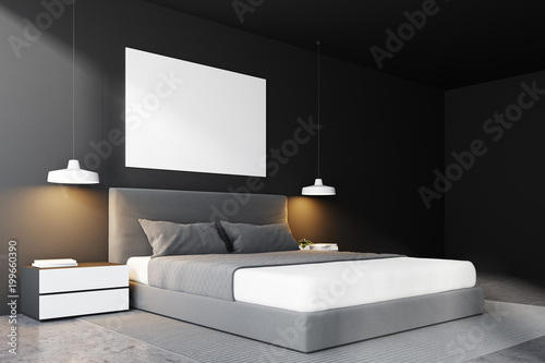 Foto Murales Gray bedroom bed corner, poster