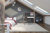 Stylish gray bedroom in the attic - 199660780