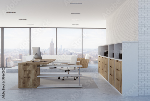 White brick wall CEO office interior, side view