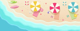 Beach, top view with umbrellas, towels, surfboards, sunglasses, hats, ball, starfish.