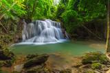 Beautiful Huay Mae Kamin Waterfall in Khuean Srinagarindra National Park, Kanchanaburi Province. Thailand
