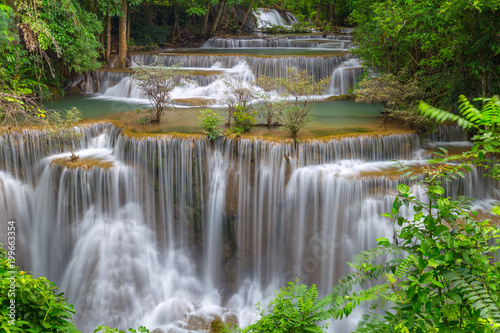 Beautiful Huay Mae Kamin Waterfall in Khuean Srinagarindra National Park, Kanchanaburi Province. Thailand