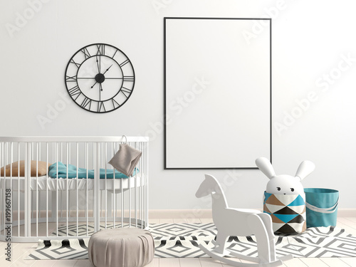 Interior of the childroom. sleeping place. 3d illustration. Mock up poster - 199667158