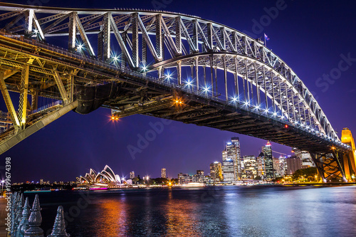 Fotobehang Sydney Night view of Harbour bridge in Sydney Australia