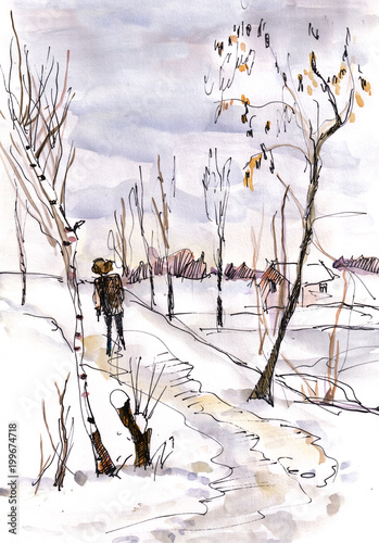 Poster Wit winter landscape with birches