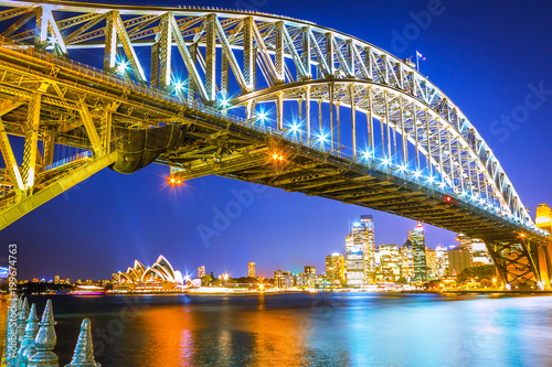 Foto Murales Night view of Harbour bridge in Sydney Australia