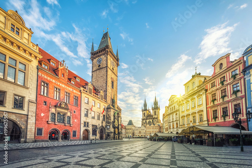 Old Town Hall building with clock tower on Old Town square (Staromestske namesti) in the morning, Prague, Czech Republic