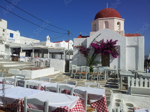 Tuinposter Santorini Plaza en Mykonos
