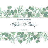 Floral greenery card template with eucalyptus branch. For wedding invitation, save the date, birthday, Easter. Vector illustration. Watercolor style - 199702148
