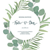 Floral card with eucalyptus  leaves. Greenery frame.Rustic style. For wedding, birthday, party, save the date. Vector illustration. Watercolor style - 199702193