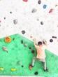 boy climbing rock wall  - 199703175