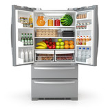 Open fridge refrigerator  full of food and drinks isolated on white background - 199704319