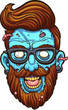 Hipster cartoon blue zombie head. Vector clip art illustration with simple gradients. All in a single layer.