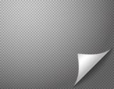 Bending paper corner element on transparent background