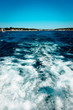 waves off of a boat motor leaving St. Ignace Michigan