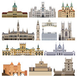 vector set of abstract castles, houses, buildings, palaces and other elements and landmarks of city skyline - 199711966