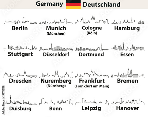 vector outlines icons of Germany cities skylines