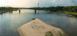 Warszawa, plaża miejska nad rzeką Wisła, widok panoramiczny - 199713591
