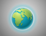The Earth isolated on transparent background. Layered illustration