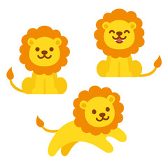 Cute cartoon lion set