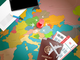 Travel accessories vector illustration. Vacation conce