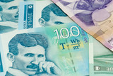 various serbian dinar banknotes spread