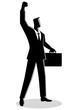 Confident businessman raising his right arm