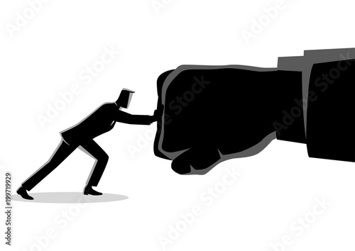 Businessman holding a giant punch