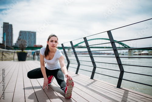 Aluminium Fitness Stretching exercises before run.