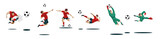 Soccer Players Kicking Ball and goalkeepers. Set Collection of different poses. - 199732384