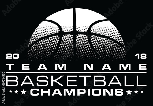 Fotobehang Bol Basketball Champions Design With Team Name is an illustration of a stylized one color basketball design that can be used for t-shirts, flyers, ads or anything else you use to promote your team.
