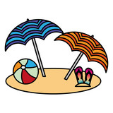 beach two umbrella ball and flip flops vector illustration
