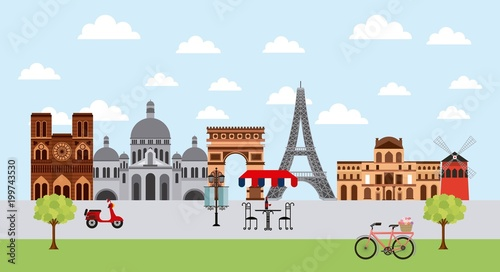 landmarks of the world motorcycles importants monuments vector illustration