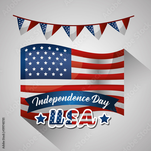 happy independence celebration pennants usa flag important day vector illustration