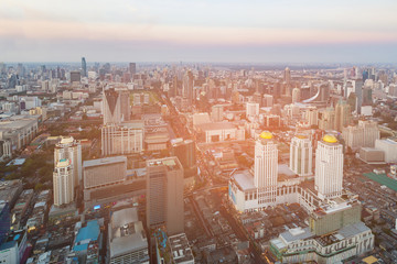 Bangkok central business downtown aerial view, Thailand cityscape background