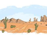 Prairie road color graphic American desert sketch landscape illustration vector - 199755152