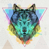 Hipster animal wolf on artistic polygon watercolor background