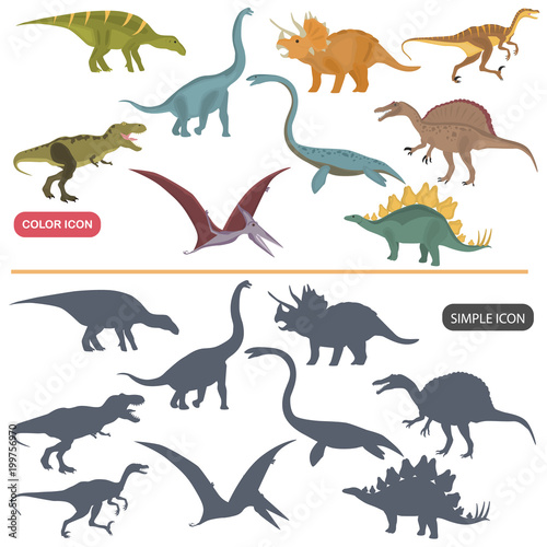 Different dinosaurs color flat and simple icons set