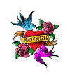 A tattoo with the inscription of Mom. A heart and flower tattoo with a flower. Tattoo in the style of the American old school. Raster flat tattoo. The illustration is isolated on a white background.