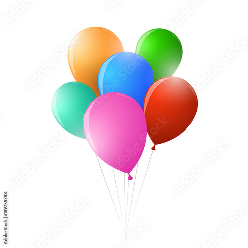 A bunch of balloons on a string for a party
