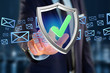 Shield symbol displayed on a futuristic interface - 3d rendering