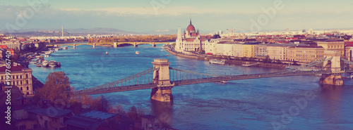 Fotobehang Boedapest Panorama with Chain Bridge and Parliament of Budapest