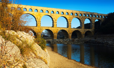 View on The Aqueduct Bridge over river in France