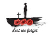 Anzac Day Banner, Silhouette of soldier paying tribute, Vector