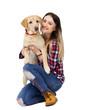 girl and dog labrador on white background