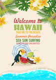 Hawaii vector travel illustration with colorful background. Summer template. Beach resort. Sunny vacations - 199779190