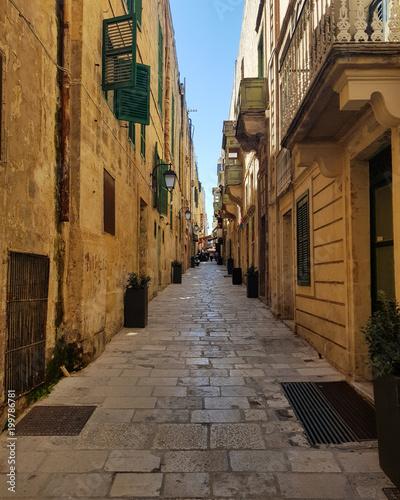 Foto op Plexiglas Smal steegje Narrow picturesque medieval street
